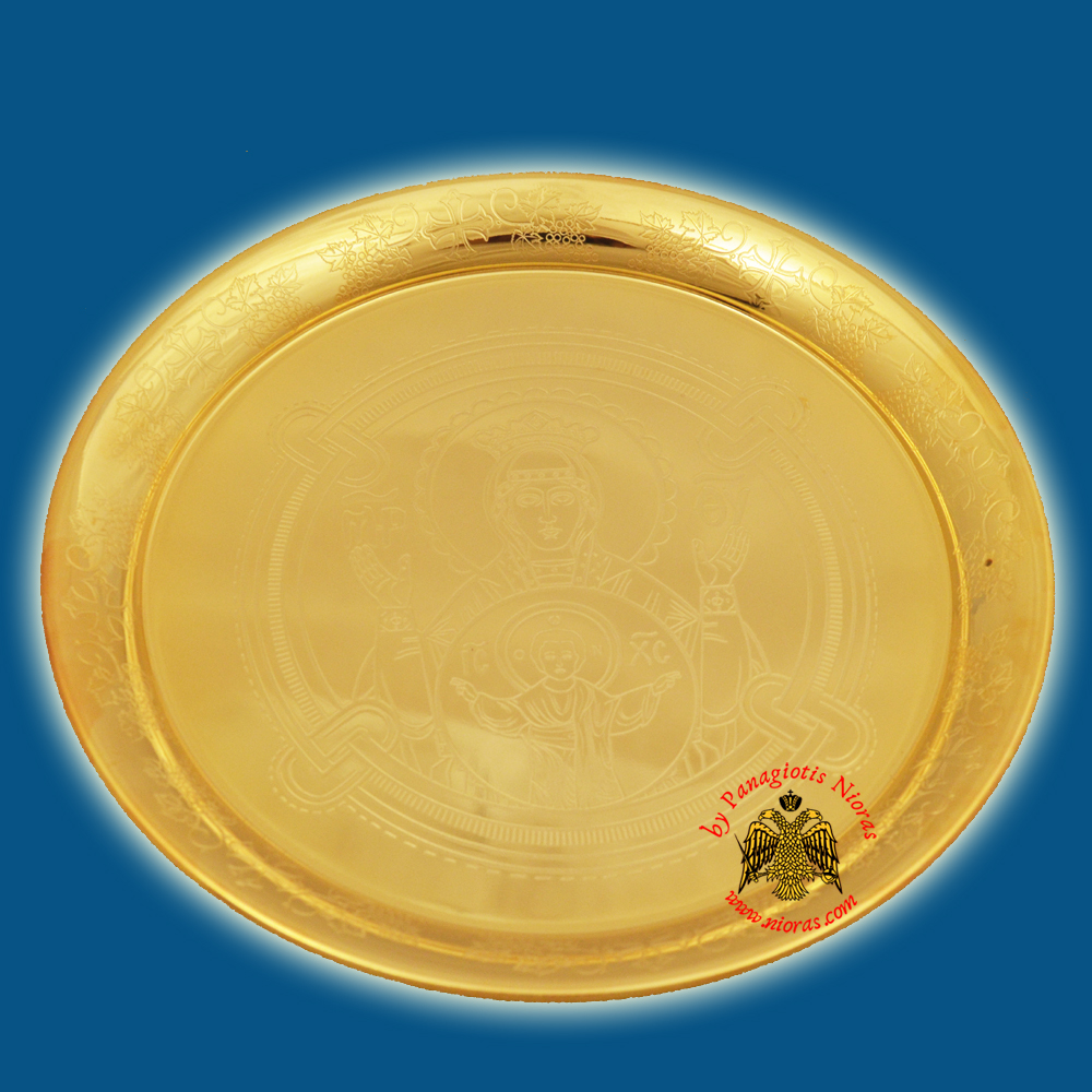 Theotokos Proskomidia Holy Communion Disc with Grapes Round Design Gold Plated d:20cm
