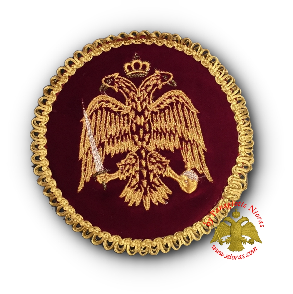 Holy Communion Burgundy Velvet Cover Byzantine Eagle Golden Thread 16cm
