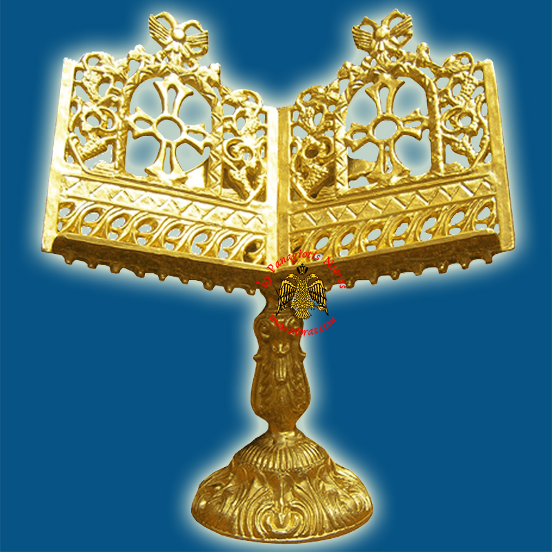 Orthodox Holy Gospel Altar Table Alouminum Stand Eagle with Cross and Vine