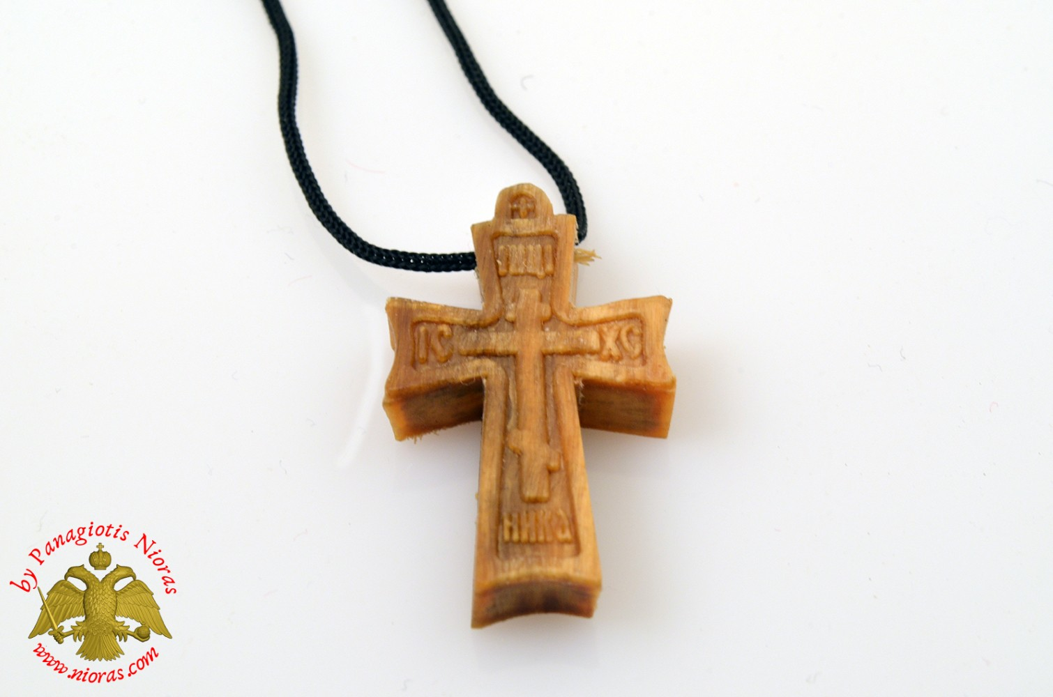 Orthodox Wooden NeckWear Cross With Neck Cord ICXC