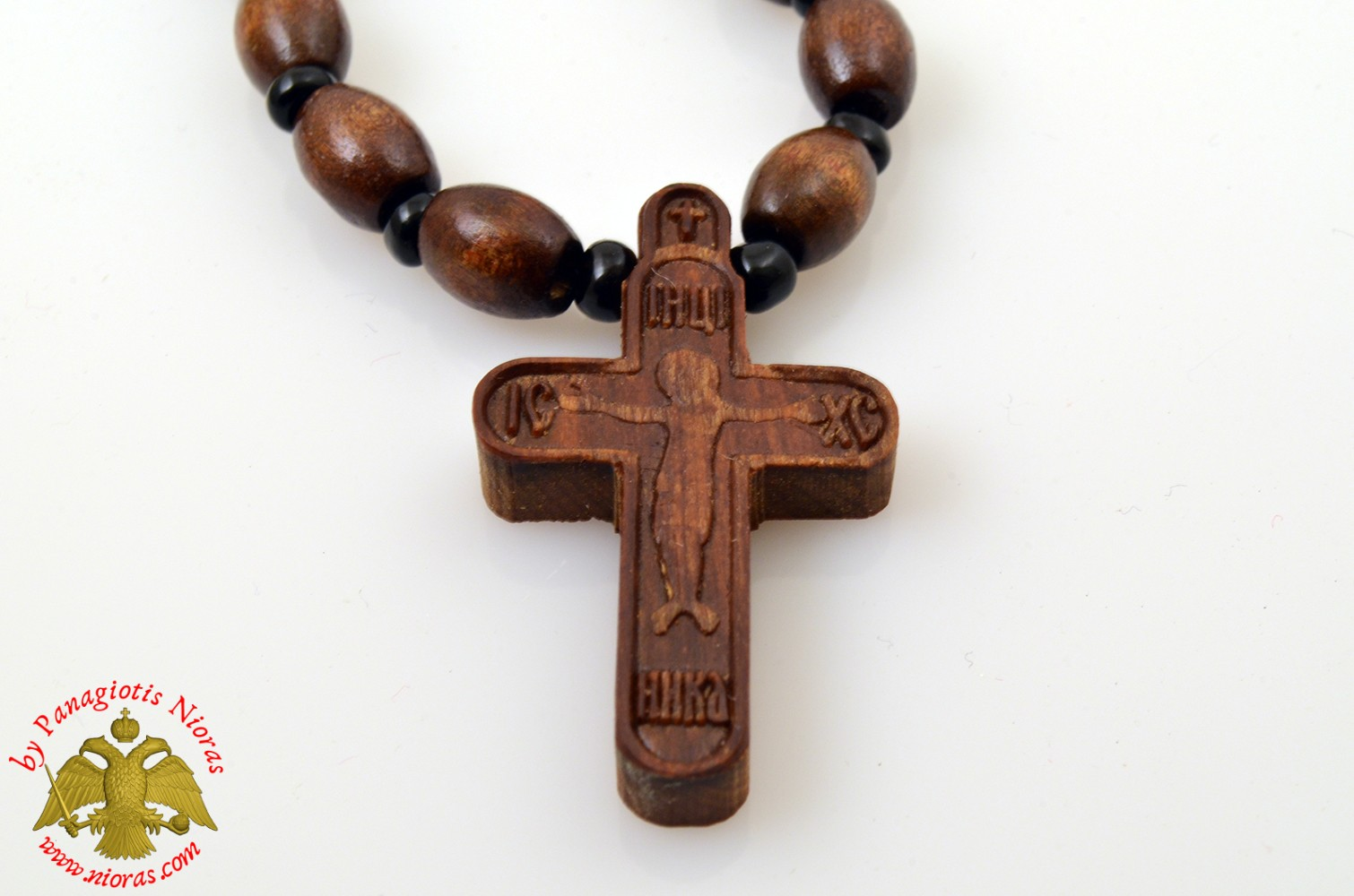 Orthodox Wooden NeckWear Cross With Wooden Beads Neck Cord ICXC