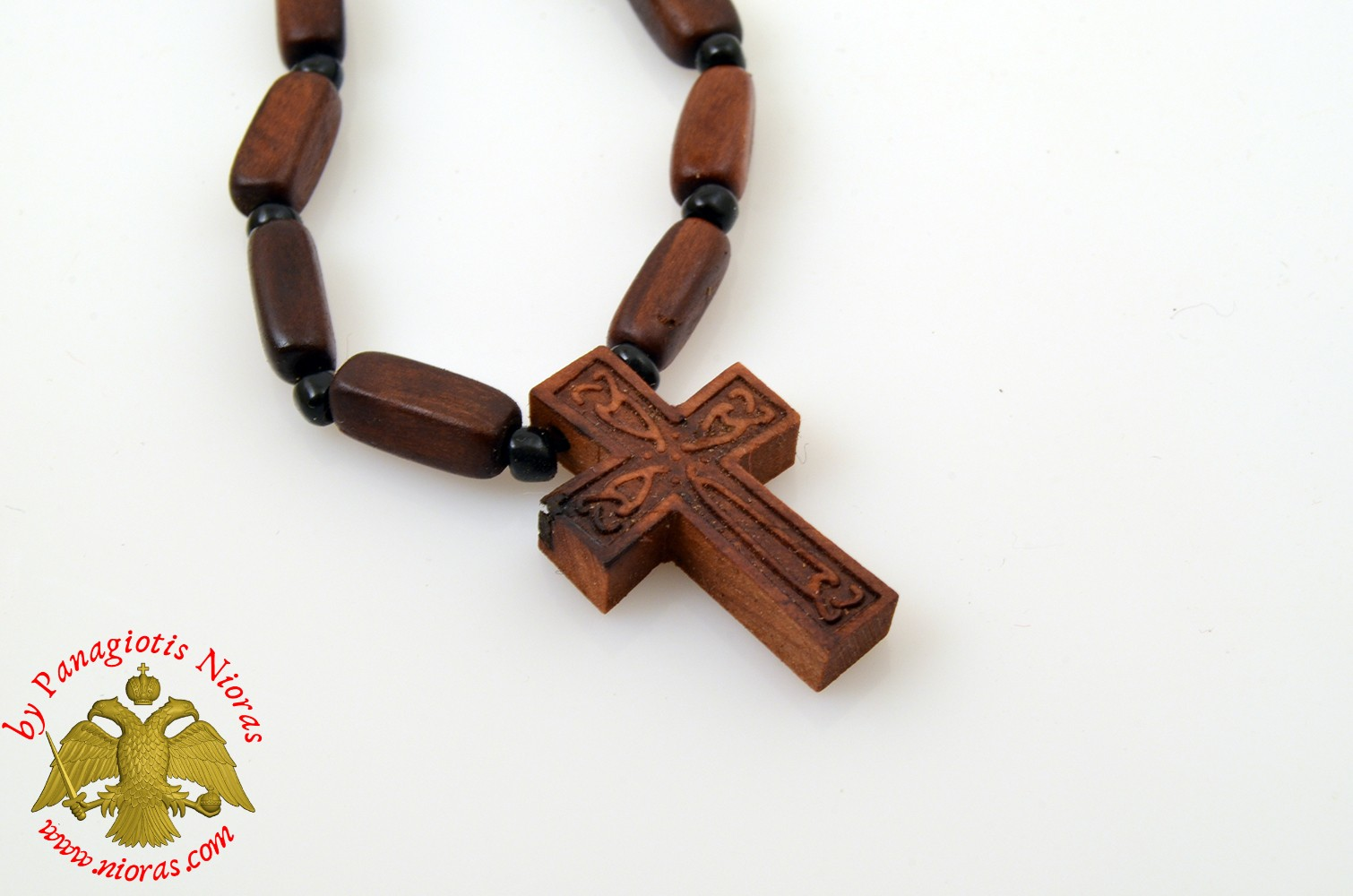 Orthodox Wooden NeckWear Cross With Wooden Beads Neck Cord