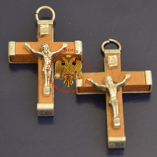 Wooden Orthodox Cross with Metal Back 3x4cm Set of 2 pcs