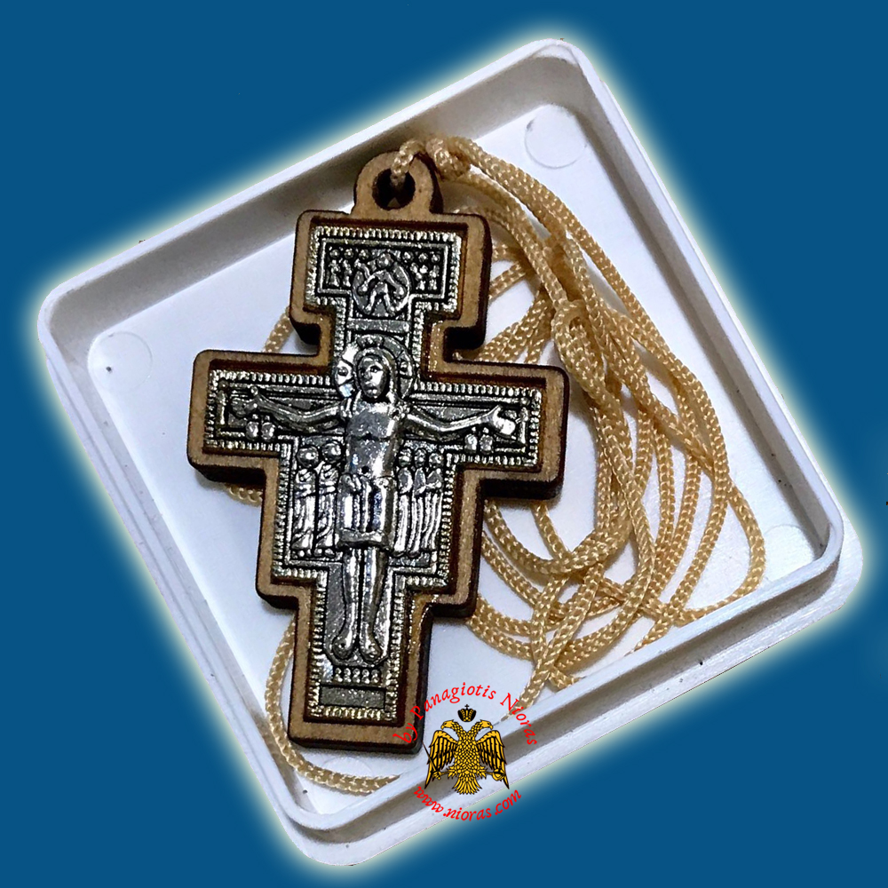 Orthodox Engraved Wooden Neckwear Cross B with Cord in Plastic Box