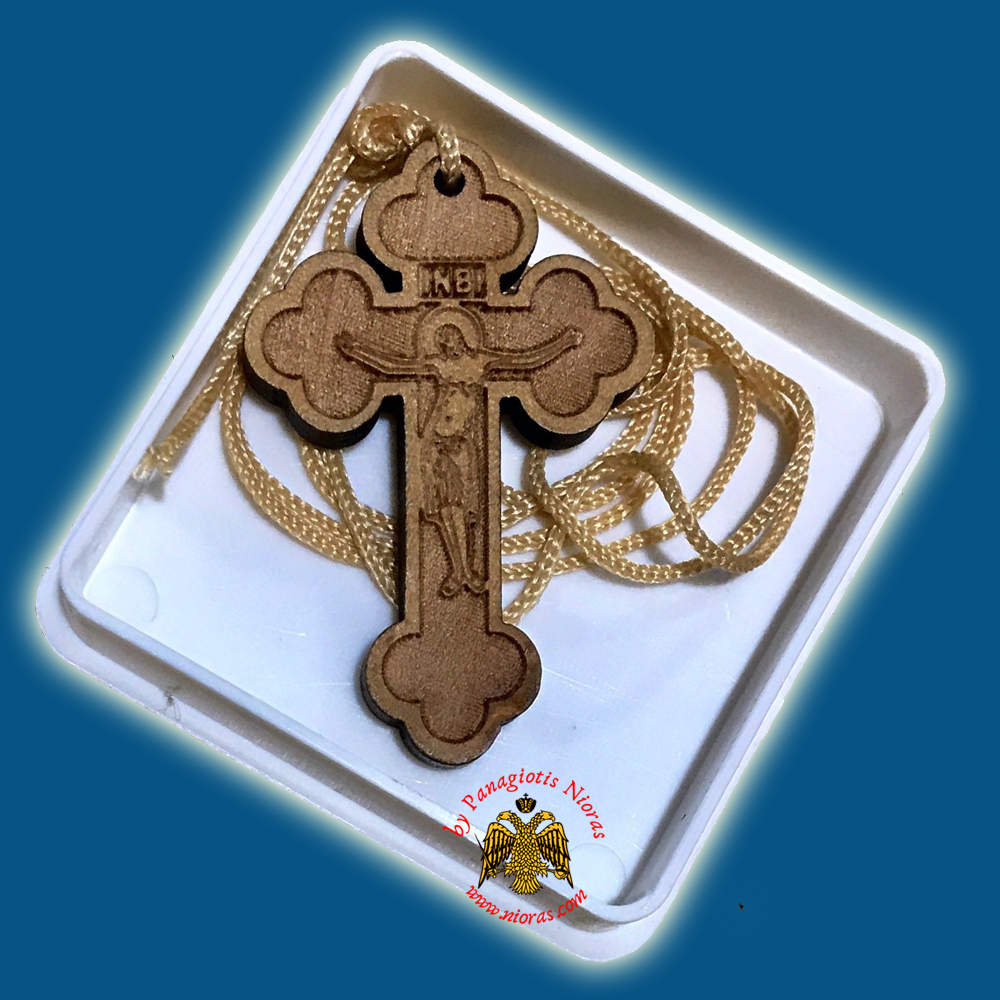 Orthodox Engraved Wooden Neckwear Cross C with Cord in Plastic Box