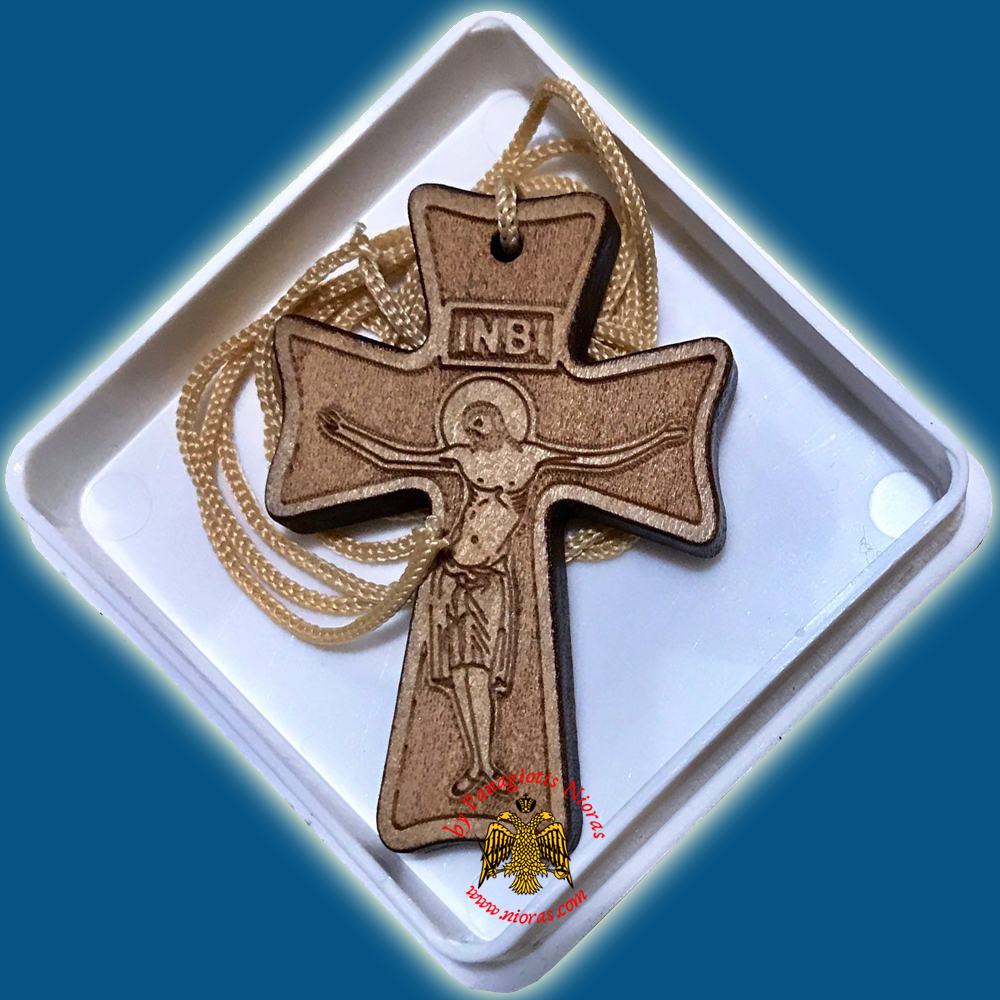 Orthodox Engraved Wooden Neckwear Cross D with Cord in Plastic Box