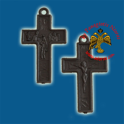 Plastic Orthodox Cross Double Side Black 2.5x3.5cm 10pcs