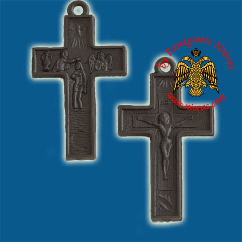 Plastic Orthodox Cross Double Side Black 2x3cm 10pcs