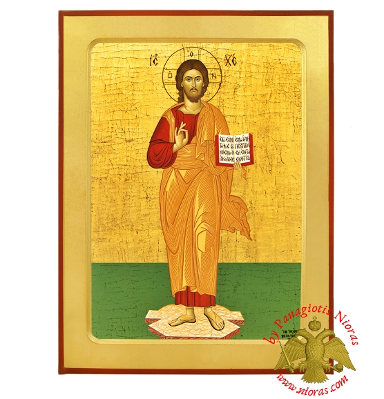 Christ Blessing Full Figure Orthodox Byzantine Wooden Icon