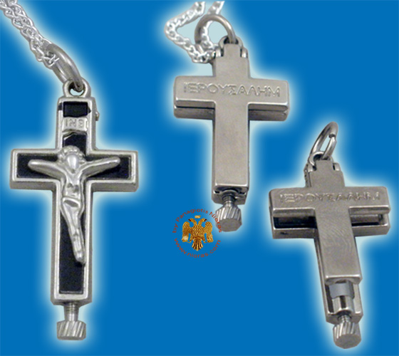 Metal Cross Openable for Relics Nickel with Black