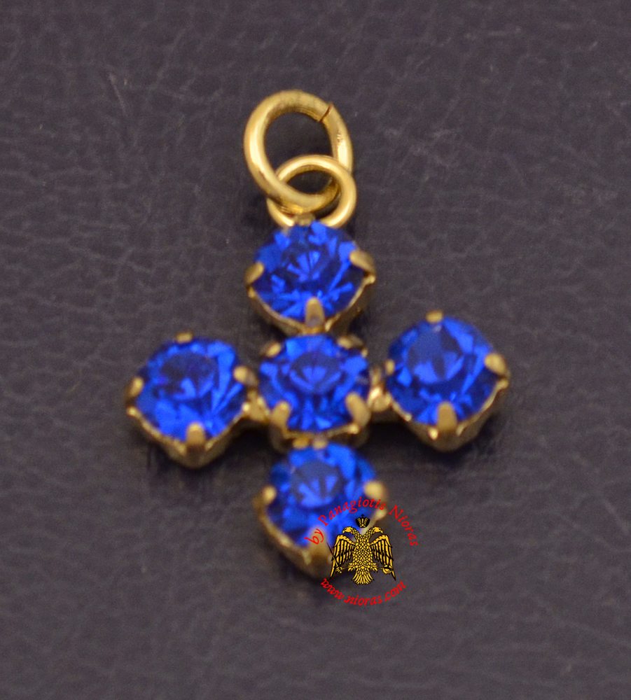 Metal Cross With Blue Swarovski Type of Stones Gold Plated
