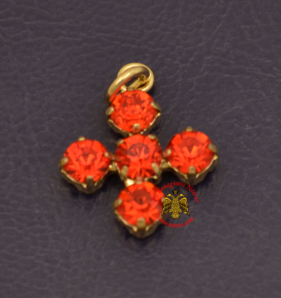 Metal Cross With Red Swarovski Type of Stones Gold Plated