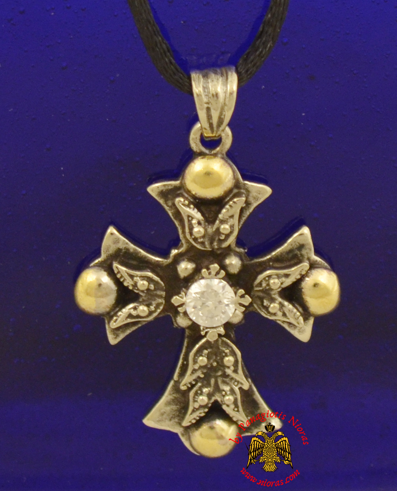Orthodox Metal Cross for Neck with Gold Plated Details
