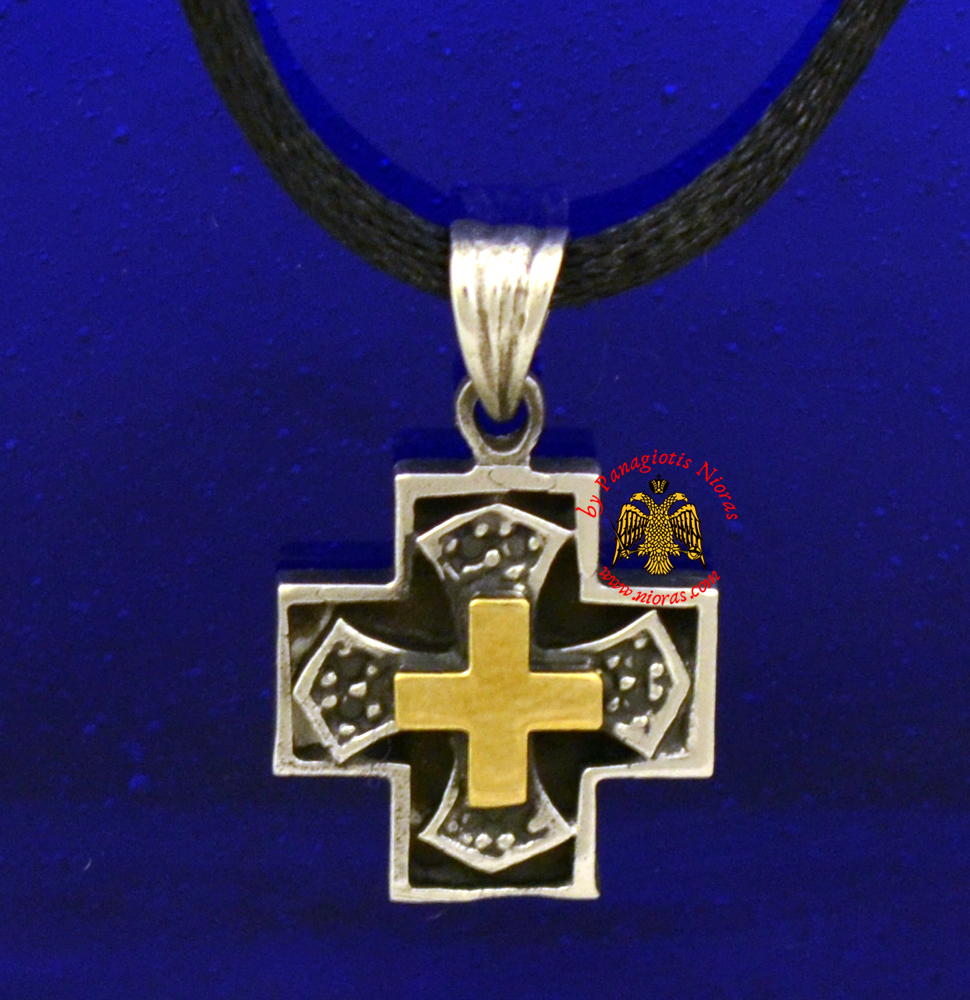 Orthodox Metal Square Cross for Neck with Gold Plated Details
