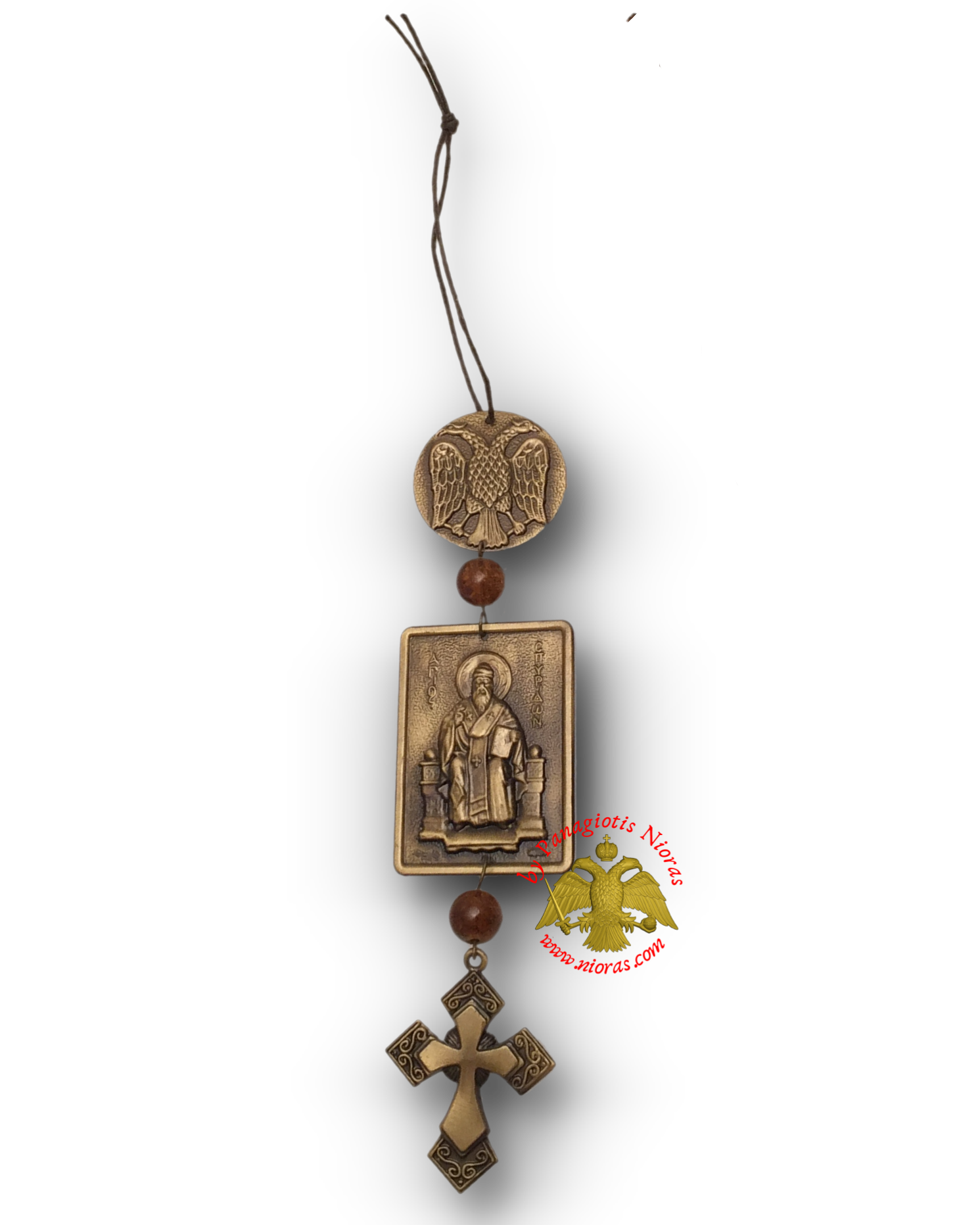 Orthodox Saint Spyridon Small Hanging Pendant Icon 3x4cm