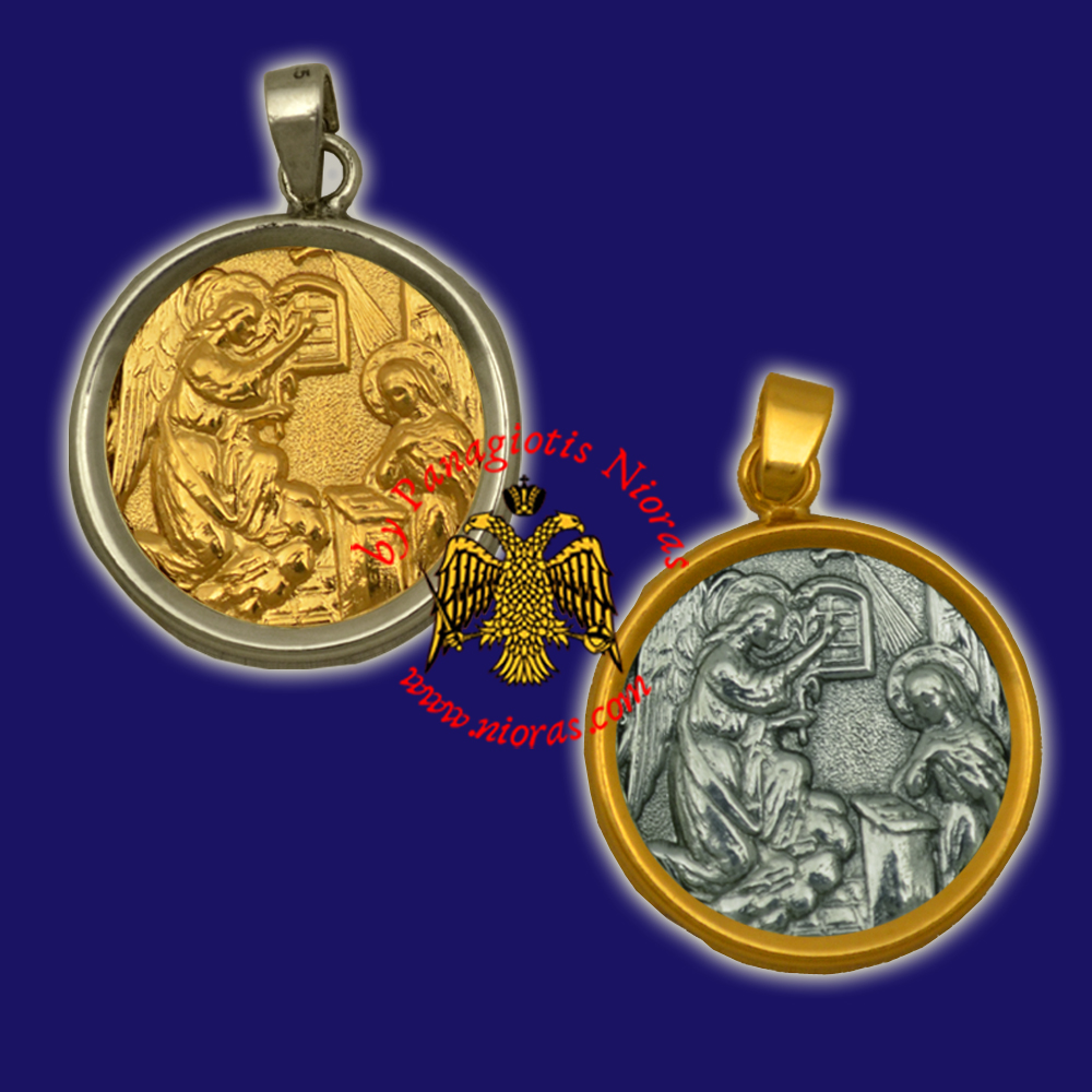 Orthodox Silver Round Pendant Icon Annunciation