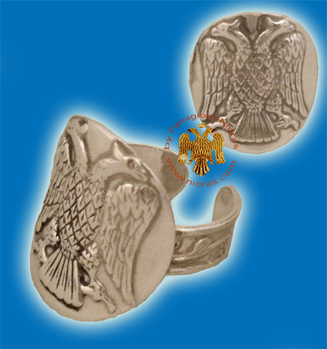 Byzantine Eagle Silver Ring Round