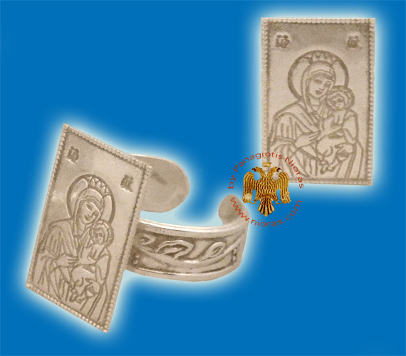 Theotokos Silver Ring Rectangular