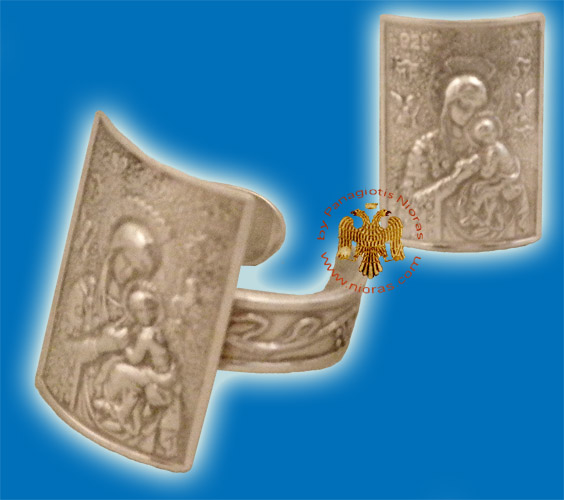 Theotokos Silver Ring Rectangular A