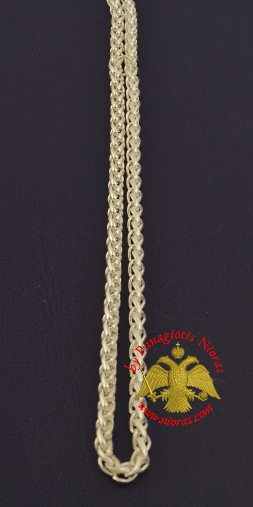 Metal Chain for Orthodox Engolpion or Pectoral Cross Silver Plated 120 cm A'