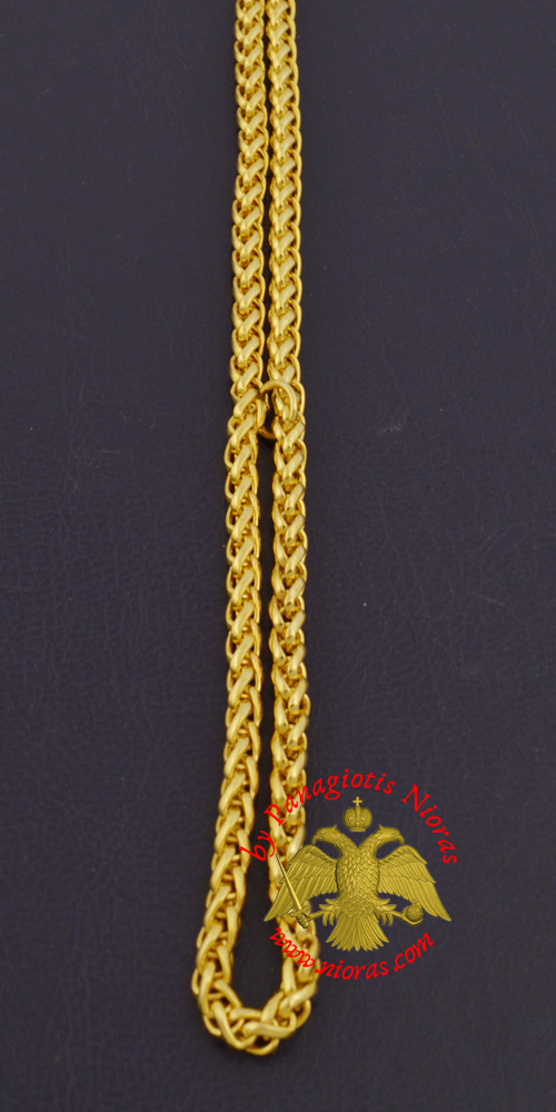 Metal Chain for Orthodox Engolpion or Pectoral Cross Gold Plated 120 cm A'