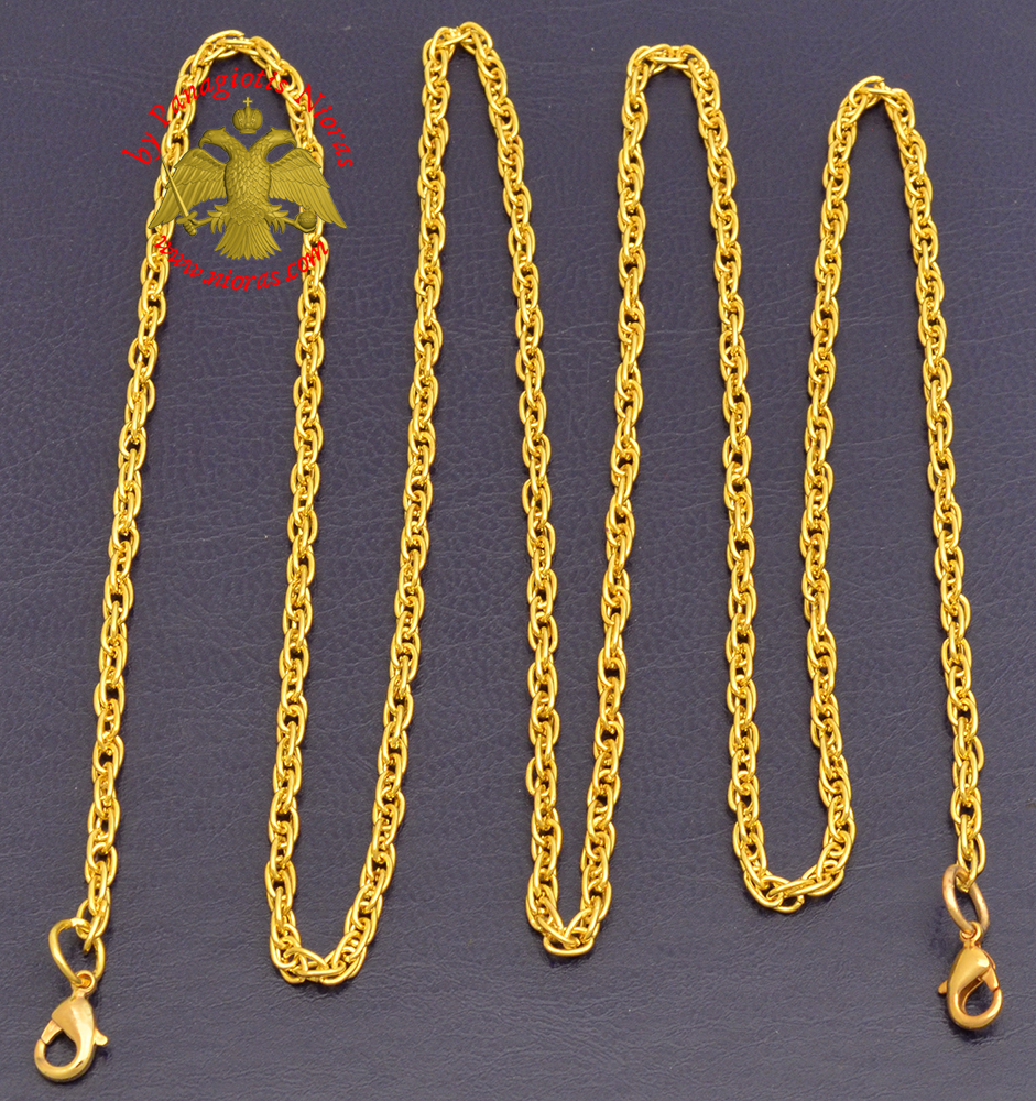 Extra Chain for Engolpion Twisted Gold Plated D:3mm L:100cm