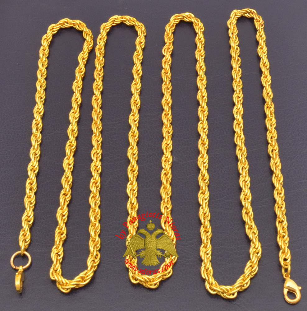 Extra Chain for Engolpion Twisted Gold Plated D:5mm L:120cm