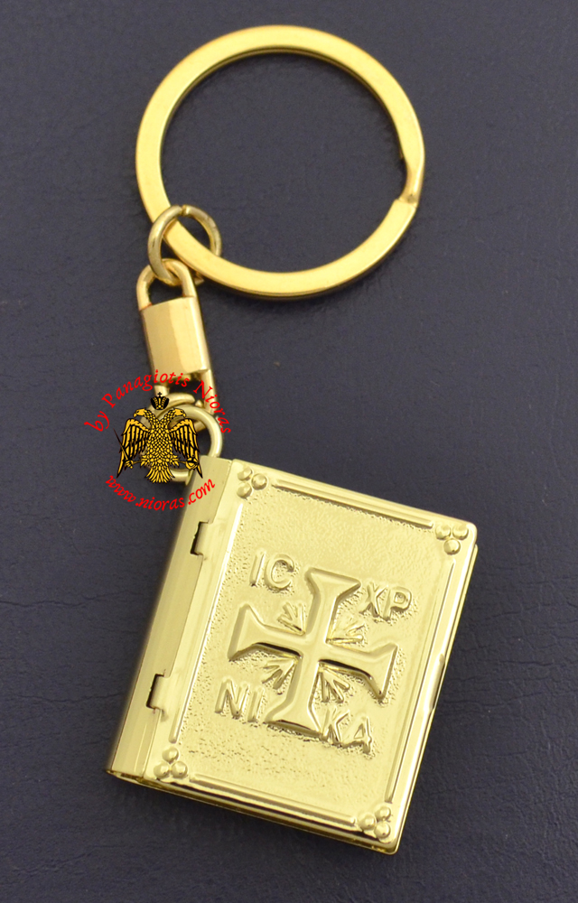 Key Ring Small Gospel Pendant Design Cross ICXC Embossed Gold Plated
