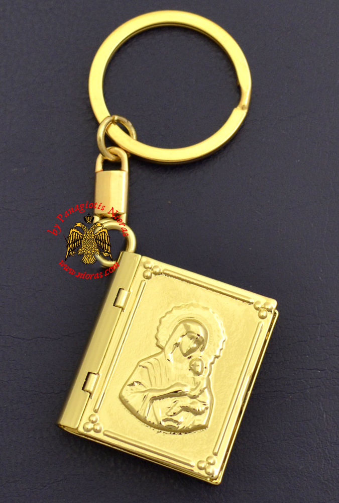 Key Ring Small Gospel Pendant Design Theotokos Embossed Gold Plated