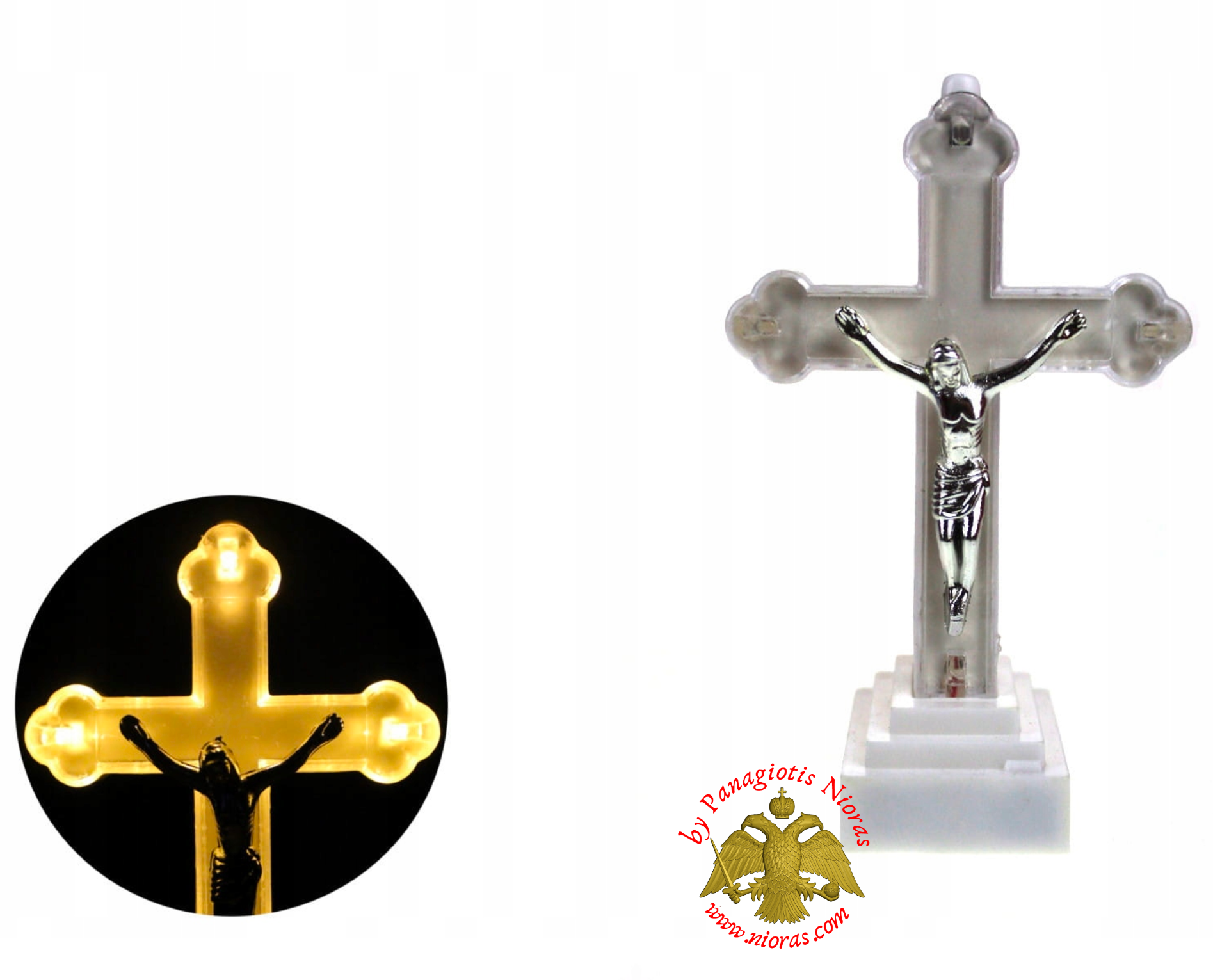 Cemetery LED Candle Battery Operated Cross 8x13cm
