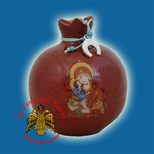 Ceramic Pomegranate Brown Red Colour with Theotokos