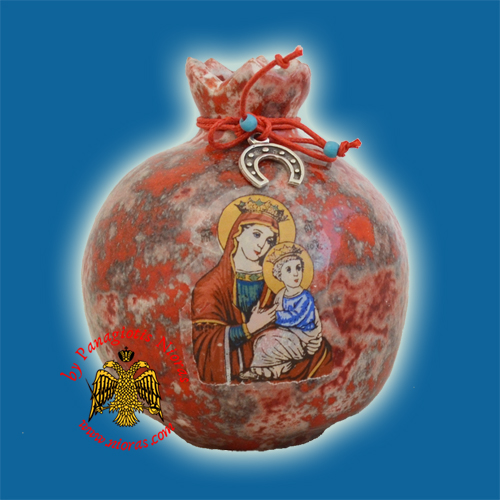Ceramic Pomegranate MultiRed Colour with Theotokos