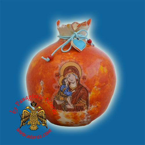 Ceramic Pomegranate Orange Red Colour with Theotokos