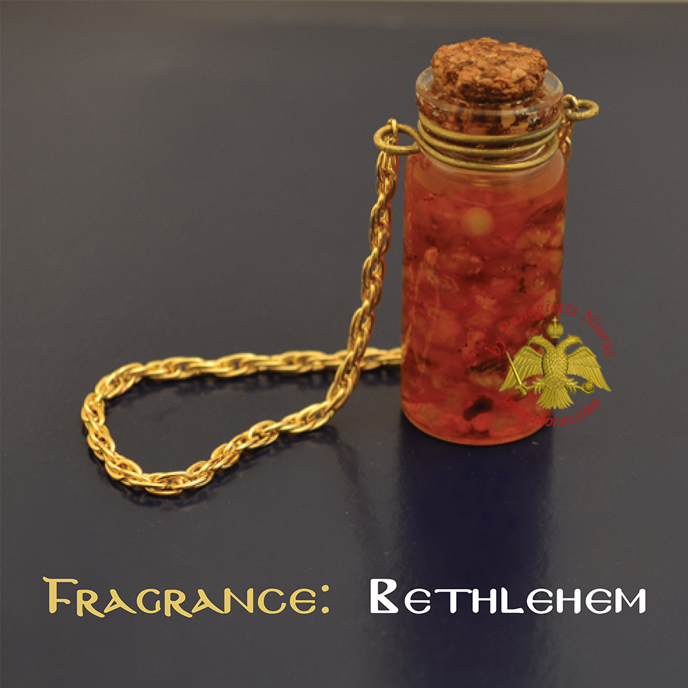 Perfumed Orthodox Incense Drops in Bethlehem Fragrance Oil Bottled with Metal Chain 15ml