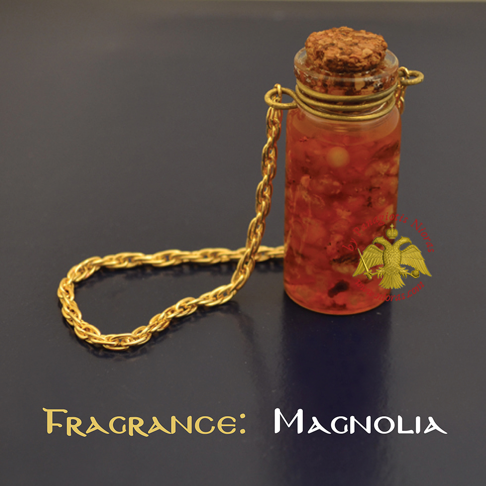 Perfumed Orthodox Incense Drops in Magnolia Fragrance Oil Bottled with Metal Chain 15ml