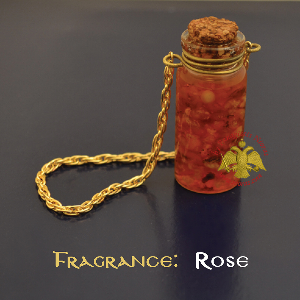 Perfumed Orthodox Incense Drops in Rose Fragrance Oil Bottled with Metal Chain 15ml