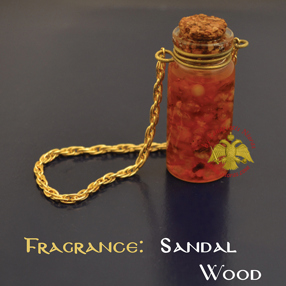 Perfumed Orthodox Incense Drops in SandalWood Fragrance Oil Bottled with Metal Chain 15ml