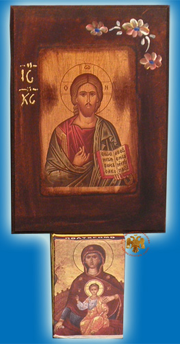 Rectangular Wooden Christ Wooden Icon Calendar