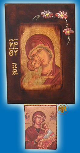 Rectangular Wooden Panagia Wooden Icon Calendar