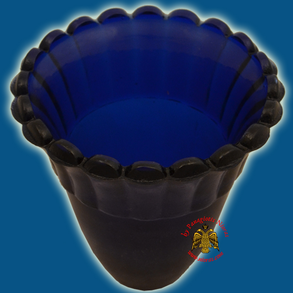 Glass Orthodox Votive Cup Blue