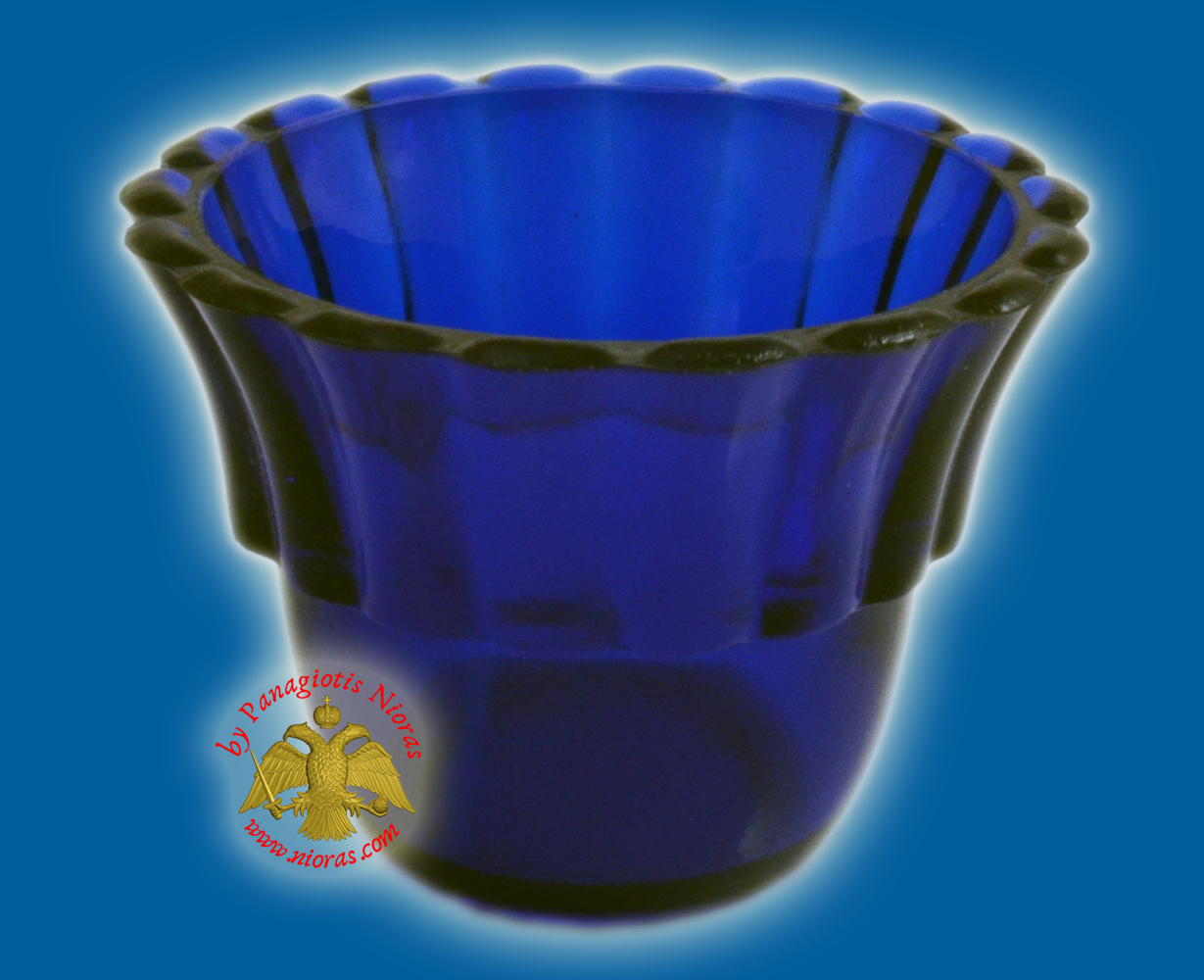 Replacement Oil Candle Votive Glass Cup Flower B' Natural Blue