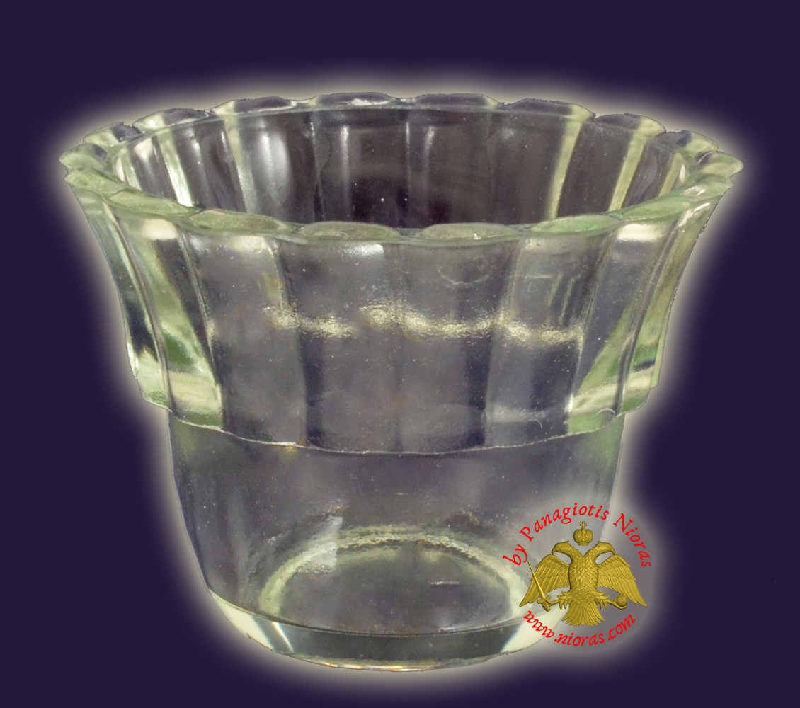 Replacement Oil Candle Votive Glass Cup Flower B' Clear