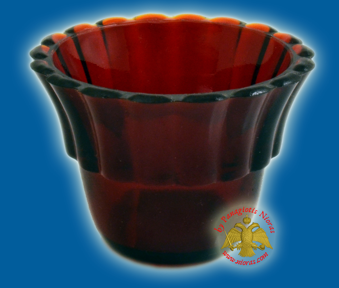 Replacement Oil Candle Votive Glass Cup Flower B' Natural Red