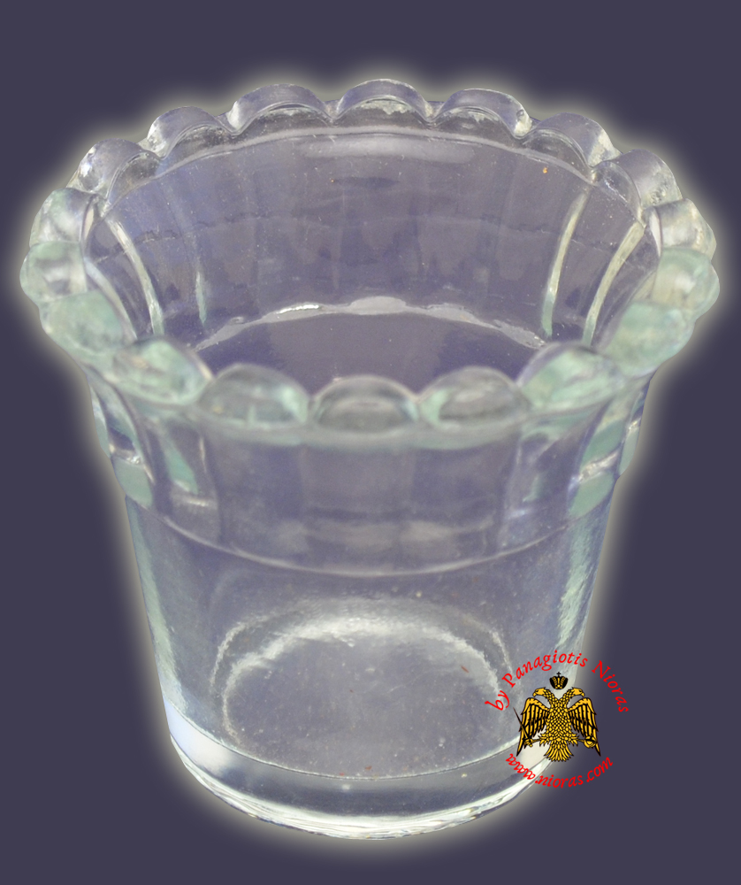 Replacement Oil Candle Glass Cup Design Flower C' Clear