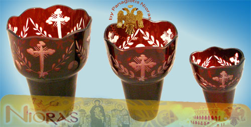 Romanian Orthodox Cross Carved Glass Cups Red