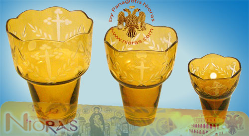 Romanian Orthodox Cross Carved Glass Cups Amber