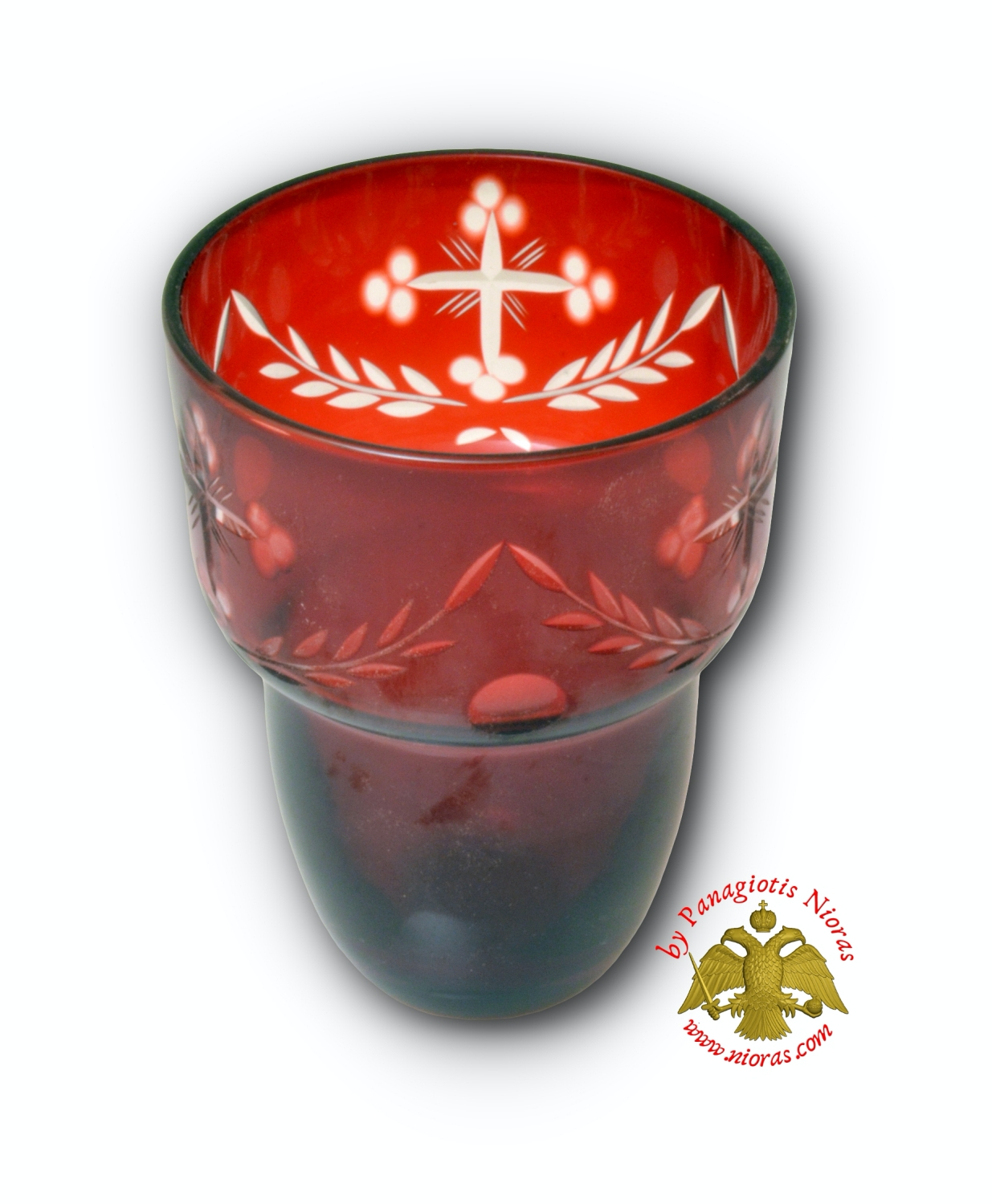 Romanian Orthodox Hand Carved Glass Cups Red Clear B 8.5X11.5cm