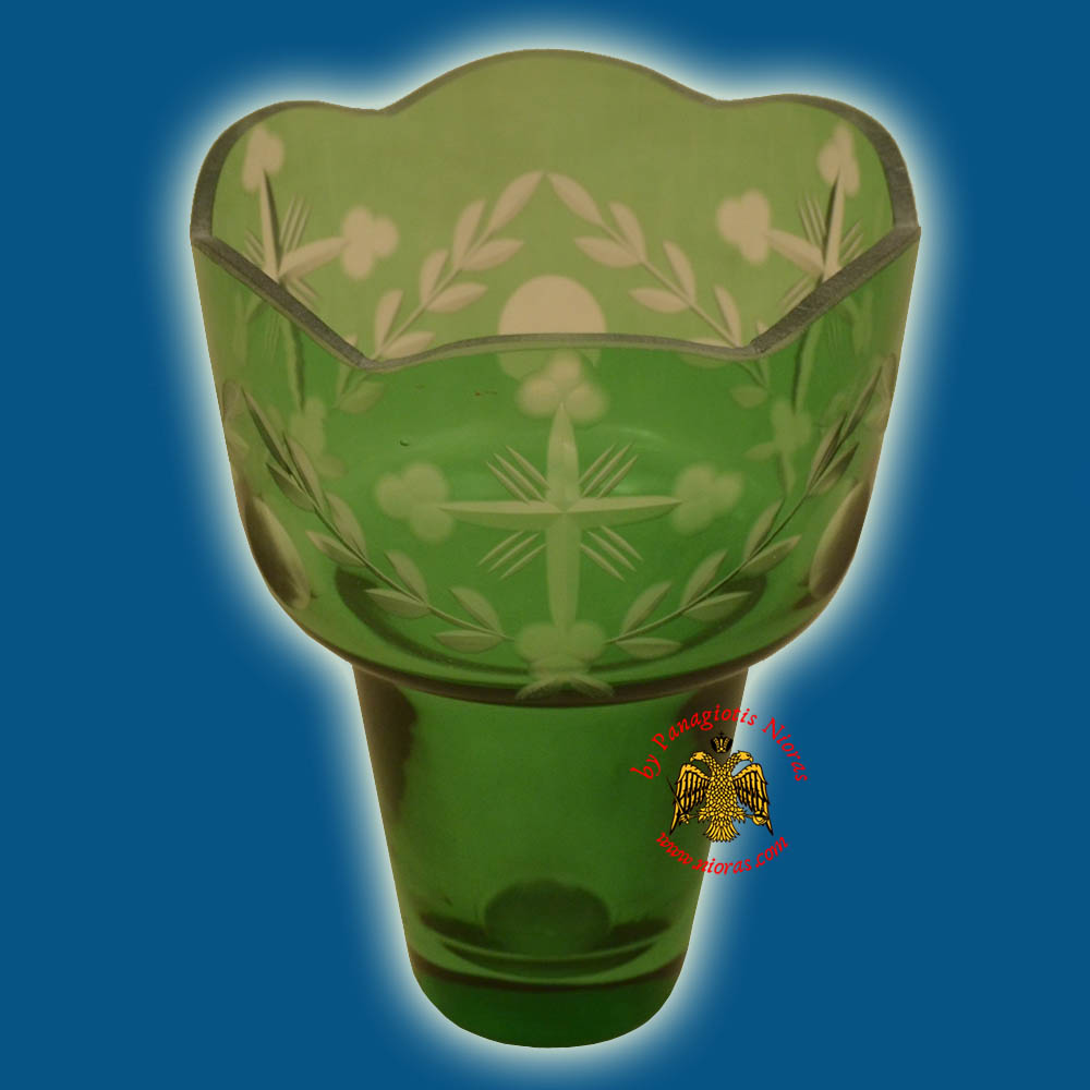 Romanian Orthodox Hand Carved Glass Cups Green A 8.5x11.5cm