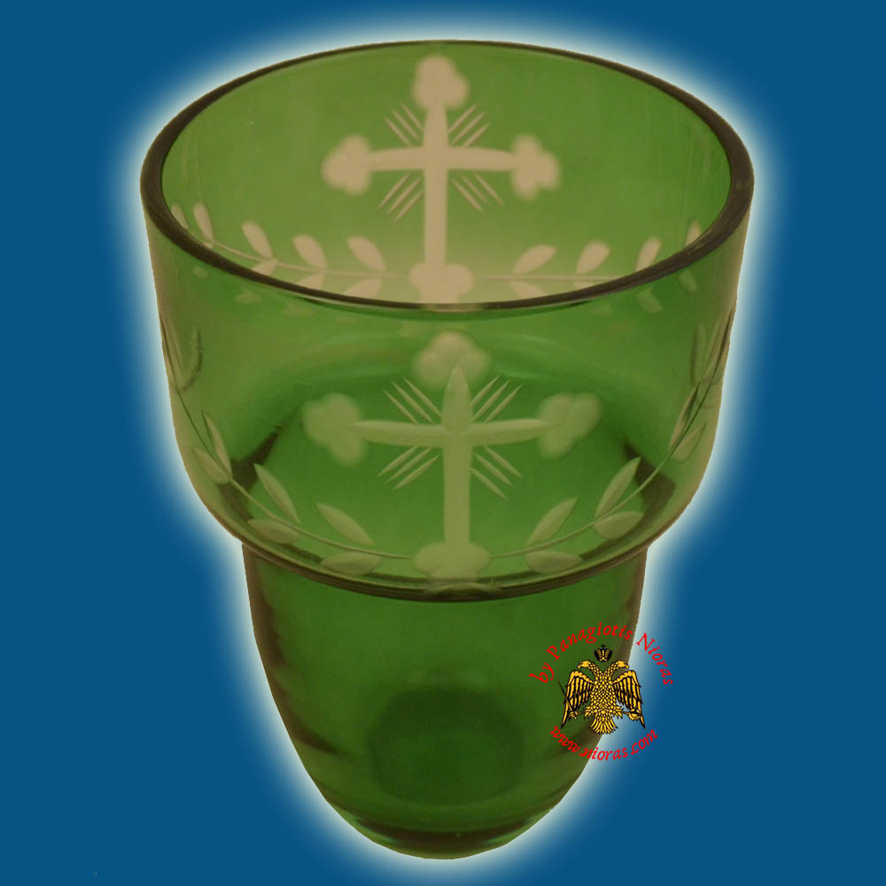Romanian Orthodox Hand Carved Glass Cups Green B 8.5X11.5cm