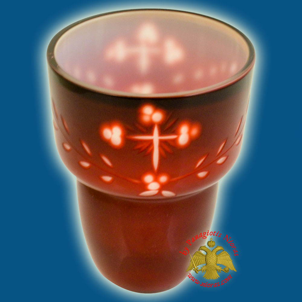 Romanian Orthodox Cross Carved Glass Cups Red White B 8.5X11.5cm